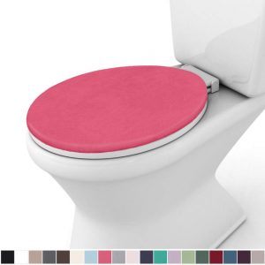 Gorilla Grip Original Thick Memory Foam Bath Room Toilet Lid Seat Cover, 19.5 Inch x 18.5 Inch Size, Machine Washable, Plush Fabric Covers, Fits Most Size Toilet Lids for Children's Bathroom, Hot Pink