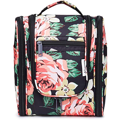 Hanging Travel Toiletry Bag Kit Cosmetic Makeup Organizer for Women and Men (Black Peony)