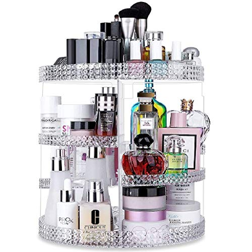 Awenia Makeup Organizer 360-Degree Rotating, Adjustable Makeup Storage, 7 Layers Large Capacity Cosmetic Storage Unit, Fits Different Types of Cosmetics and Accessories, Plus Size (Clear)