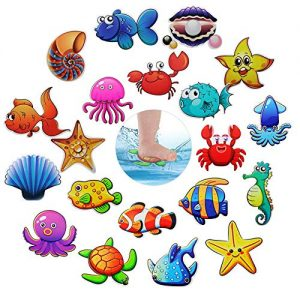 Hangnuo Non-slip Bathtub Stickers, 20 Set Sea Creatures Anti Slip Decals Safety Adhesive Appliques for Baby Bath Tub
