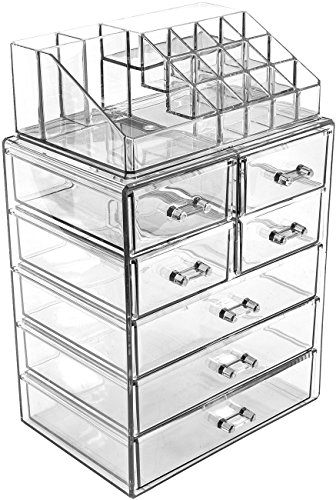 Sorbus Cosmetic Makeup and Jewelry Storage Case Display - Spacious Design - Great for Bathroom, Dresser, Vanity and Countertop (3 Large, 4 Small Drawers, Clear)