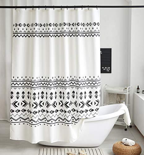 Uphome Boho Stall Shower Curtain Fabric Black and White Geometric Tribal Shower Curtain Set with Hooks Chic Bohemian Bathroom Accessories Decor,Heavy Duty Waterproof, 54x78