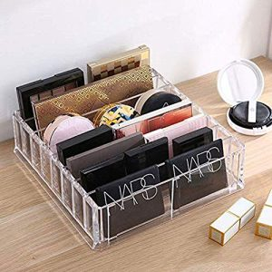 LAIBUY Acrylic Makeup Organizer 8 Compartments Makeup Organizer Countertop Makeup Holder Cosmetic Display Case Storage Box (16 compartments)