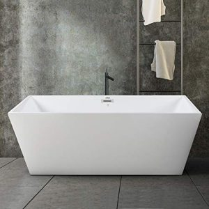 FerdY Freestanding Bathtub Rectangle Freestanding Soaking Bathtub Glossy White, cUPC Certified, Drain & Overflow Assembly Included (ferdy-0532-59)