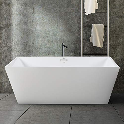 FerdY Freestanding Bathtub Rectangle Freestanding Soaking Bathtub Glossy White, cUPC Certified, Drain & Overflow Assembly Included (ferdy-0532-59)