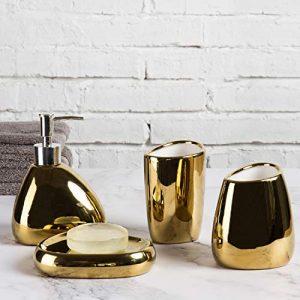MyGift 4 Piece Modern Gold Ceramic Bathroom Accessory Set