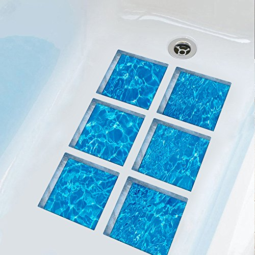 "ChezMax 3D Stereoscopic Waves DIY Anti Slip Safety Shower Bath Tub Decal Stickers Bathtub Appliques 6 Pcs 5.9"" X 5.9"""