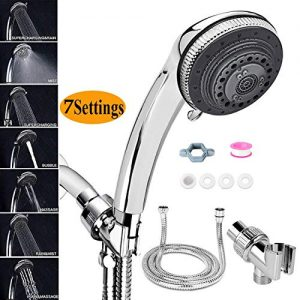 Handheld Showerheads, 7 Spray Settings High Pressure Hand held Shower Head with 2 Meter Hose and Shower Bracket (Shower Head Set)