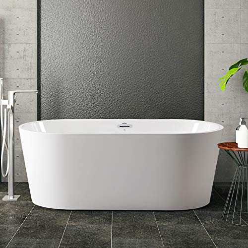 """FerdY 59"""" Freestanding Bathtub, F-0522 Classic Oval Shape Acrylic freestanding tub Modern White, cUPC Certified, Drain & Overflow Assembly Included"""