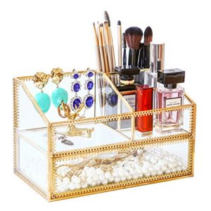 Levilan Golden Glass Box Vanity Tray Glass Case Makeup Display Organizer on Dresser, Multifunctional Comestic Storage for Palette Lipstick Makeup Brushes Skincare Perfumes Bathroom Accessories
