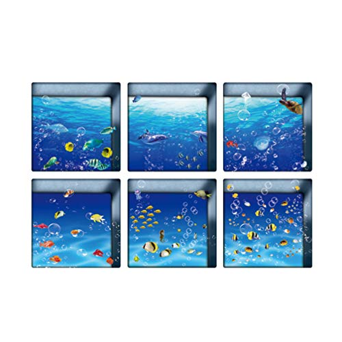 Garneck 6 Pcs 3D Bathtub Stickers Ocean World Pattern Waterproof Non-Slip Bathtub Appliques Wall Stickers Bathtub Decals for Toilet Bathroom 13x13cm