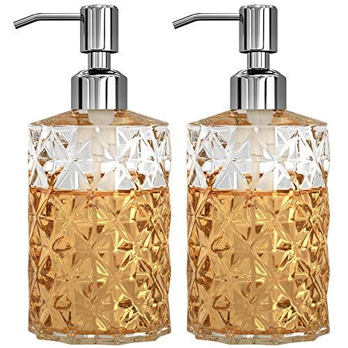 KOLYES Soap Dispenser 2 Pack, 12 Oz Clear Diamond Design Glass Refillable Premium Hand Soap Dispensers; with 304 Rust Proof Stainless Steel Pump, for Bathroom, Kitchen, Lotions