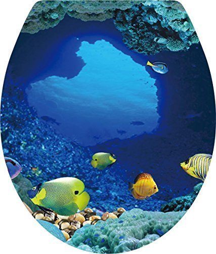 BooDecal Ocean Series Undersea Wall Decals Tropical Fish Toilet Lid Cover Stickers for Bathroom Seat Waterfroof Peel and Stick Stickers 12 inches x 15 inches