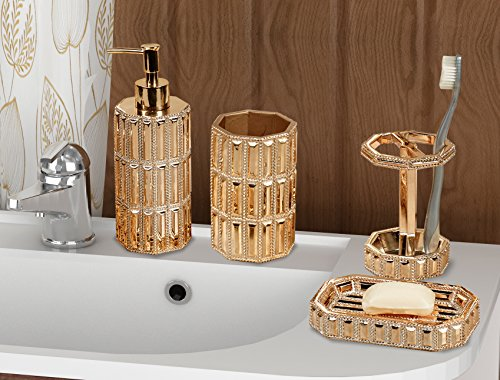 nu steel Resin Bath Accessory Set for Vanity Countertops, 4 Piece Luxury Ensemble Includes Dish, Toothbrush Holder, Tumbler, soap and Lotion Pump, Gold Finish