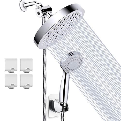 Taiker Shower Head, High Pressure Rainfall Shower Head/Handheld Combo, Luxury Modern Chrome Plated with 60'' Hose Anti-leak with Holder, 4 Shower Hooks