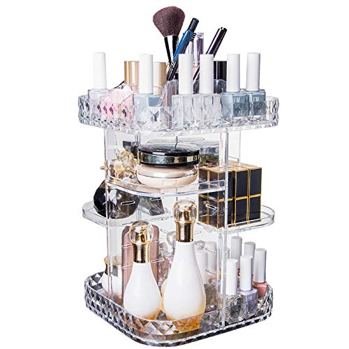 Makeup Organizer With Diamond Pattern 360 Degree Rotating Cosmetic Organizer, DIY Adjustable Height Large Capacity Cosmetics Display Case