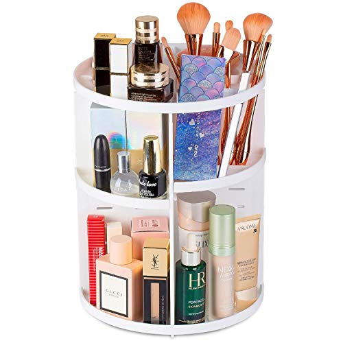 Rotating Makeup Organizer, 360 Spinning Makeup Organizers Storage Rack with Brushes Holder Shelves, for Bathroom Countertop and Makeup Vanity, 7 Layers with 4 Trays for Cosmetics, Perfume, White…