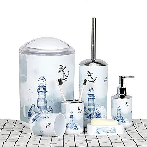 6 Piece Plastic Bathroom Accessory Set Luxury Lighthouse Bath Accessories Bath Set Lotion Bottles,Toothbrush Holder,Tooth Mug,Soap Dish,Toilet Brush,Rubbish for Modern Design