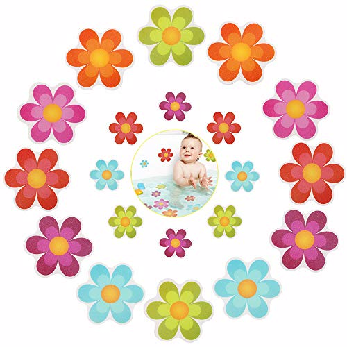 Pack of 20,Non Slip Bathtub Stickers,Adhesive Decals With Bright Colors,Ideal Large Appliques For Your family's Safety,Suit for Bath Tub,Stairs,Shower Room & Other Slippery Surfaces.(Bright Flowers)