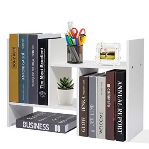 Adjustable Desktop Bookshelf Office Organizer Desk Storage Organizer Display Shelf Rack, Counter Top Bookcase, White
