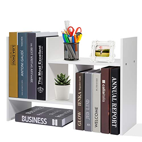 Adjustable Desktop Bookshelf Office Organizer Desk Storage Organizer Display Shelf Rack, Counter Top Bookcase, White