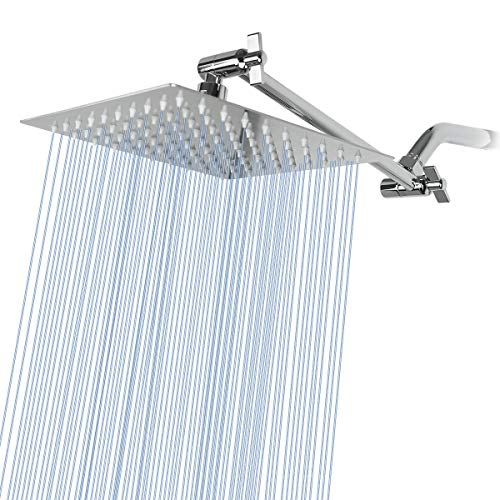Rain Shower Head with 11'' Adjustable Extension Arm, Large Stainless Steel High Flow Rainfall Square Shower head, Bath Shower Waterfall Full Body Coverage (8 Inch Showerhead with Arm, Chrome)