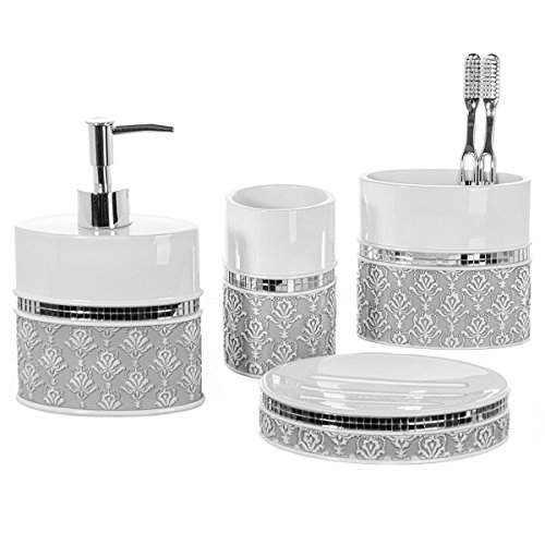 4 Piece Bathroom Accessory Set - Gift Package - Soap Dish and Dispenser, Toothbrush Holder, and Tumbler Cup - Mirror Damask Style - by Creative Scents