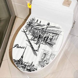 Toilet Seat Lid Cover Decals Stickers Retro Sketchy Paris Funny Bathroom Decal Sticker Funny Vinyl Wall Art Decor Set, W13xH16 INCH