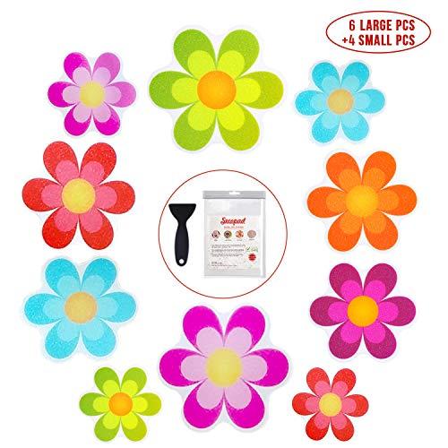 Bathtub Stickers Non-Slip, 10 PCS Safety Shower Treads Adhesive Bright Flowers Appliques with Premium Scraper