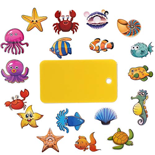 ManYee 20 Pcs Anti Slip Stickers Sea Creature Non Slip Baby Bath Stickers Tub Tattoos Sea Animal Decals Treads Adhesive Appliques with Scraper for Bathtubs Refrigerators Stairs Mirrors Windows Wall