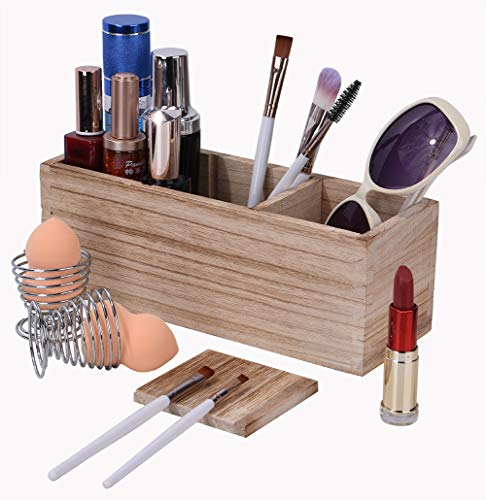 Makeup Brush Holder Organizer with 2 Pack Beauty Sponges Holder, Wood 3 Adjustable Slots Rustic Cosmetic Organizer Storage, Cosmetic Display Case, 10.1 x 3.6 x 3.9 inches