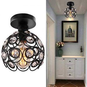 Semi Flush Mount Ceiling Light Fixture, Antique Black Metal Crystal Chandelier Lamp, Indoor Lighting for Bathroom Fixture Foyer Ceiling Fixture Hallway Lighting Fixture