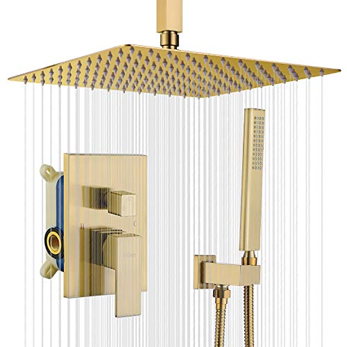 IRIBER Champagne Bronze Ceiling Mount Rain Shower System with 12 Inch Shower Head and Handheld Bathroom Brushed Golden Shower Set Contain Shower Faucet Mixer and Brush Gold Trim Kit (Valve Included)