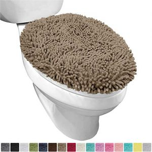 Gorilla Grip Original Shag Chenille Bathroom Toilet Lid Cover, 19.5 x 18.5 Inches, Large Size, Machine Washable, Ultra Soft Plush Fabric Covers, Fits Most Size Toilet Lids for Bathroom, Beige