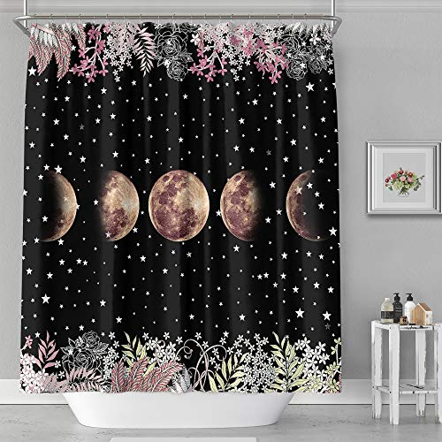 """Shower Curtain - Print Polyester Fabric Waterproof Shower Curtain by iLiveX, Machine Washable, Hooks Included, Bathroom Decoration, 71""""x71"""" Moon Phase"""