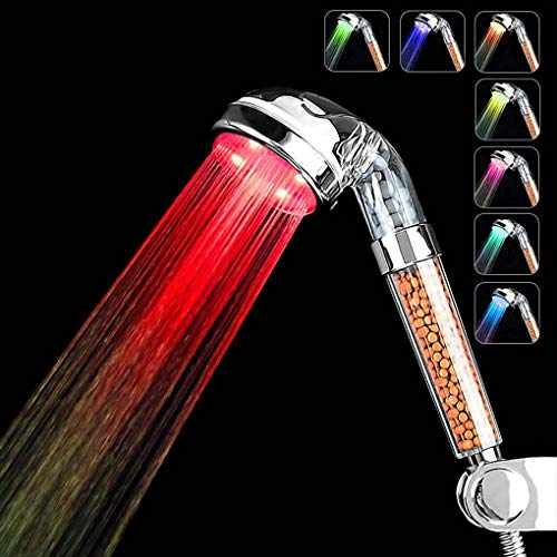 Spofe Led Shower Head, High Pressure Handheld Shower Head with 7 Color Changing Lights Water Saving Ionic Filter Showerhead for Dry Skin and Hair