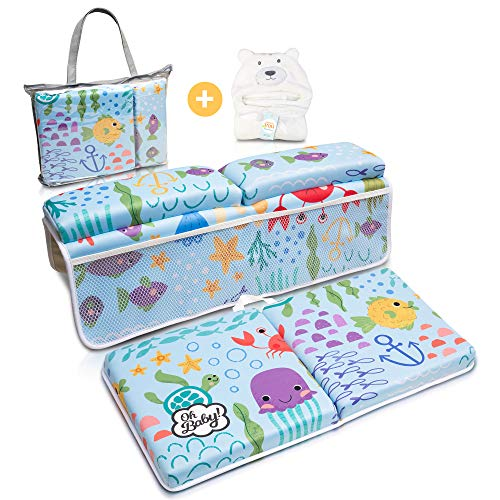 Bath Kneeler and Elbow Rest Pad   Baby Bath Kneeler and Bath Elbow Saver   Bath Kneeler Baby Bathtub Cushion   Bonus Hooded Baby Towel - by Oh Baby!