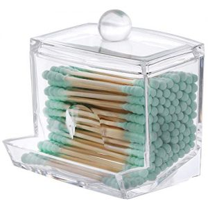 Tbestmax Cotton Swab Cotton Pads Holder, Qtip Cotton Buds Ball Dispenser, Square Bathroom Jar Clear Organizer for Storage Easy Take 1 Pcs