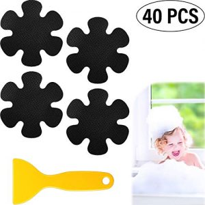 Mudder 40 Pieces Bathtub Stickers Non-Slip Black Flower Shaped Bath Treads Anti-Slip Appliques with Yellow Scraper for Bathtubs, Stairs, Shower Rooms and Other Wet Surfaces