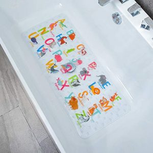 BeeHomee Cartoon Non Slip Bathtub Mat for Kids - 35x16 Inch XL Large Size Anti Slip Shower Mats for for Toddlers Children Baby Floor Tub Mats (Alphabet)
