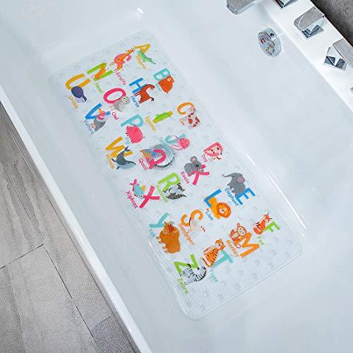 BeeHomee Cartoon Non Slip Bathtub Mat for Kids - 35x16 Inch XL Large Size Anti Slip Shower Mats for for Toddlers Children Baby Floor Tub Mats (Alphabet)