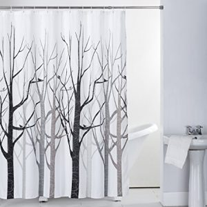 Shower Curtain Fabric Grey Tree with Hooks Bath Curtain Waterproof, 72x72 INCH
