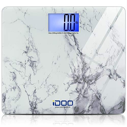iDOO High Precision Digital Bathroom Weight Scale 440 Pound Capacity, Ultra Wide Heavy-Duty Platform with Elegant Marble Design