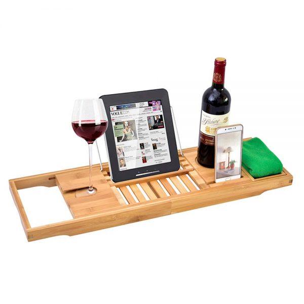 DDSKY Premium Bamboo Bathtub Caddy Tray Extendable Bath Tray Rack Bathtub Caddy Organizer with Wine Glass Holder, Book/Tablet Holder