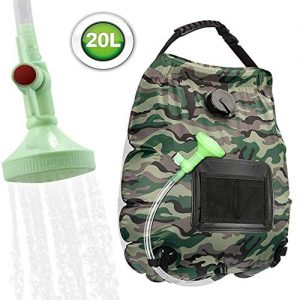 KIPIDA Solar Shower Bag,5 gallons/20L Solar Heating Camping Shower Bag with Removable Hose and On-Off Switchable Shower Head for Camping Beach Swimming Outdoor Traveling Hiking (Camouflage)