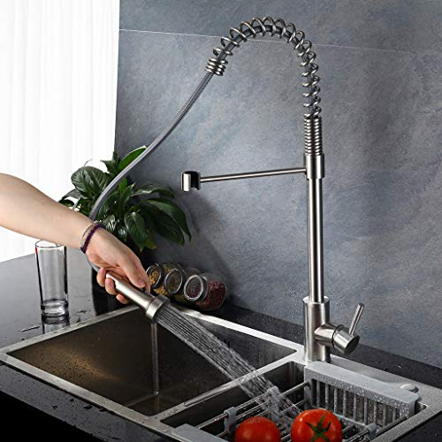 Commercial Style Heavy Duty Solid Coiled Spring Kitchen Sink Faucets, Stainless Steel Pull Out Sprayer Bar Sink Faucet, Brushed Nickel - 24.8in