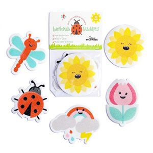 Curious Columbus Non-Slip Bathtub Stickers for Kids (Summer Garden Design) Pack of 10 Treads. Adhesive Bathtub Appliques. Anti Skid, Anti-Slip Tattoos.