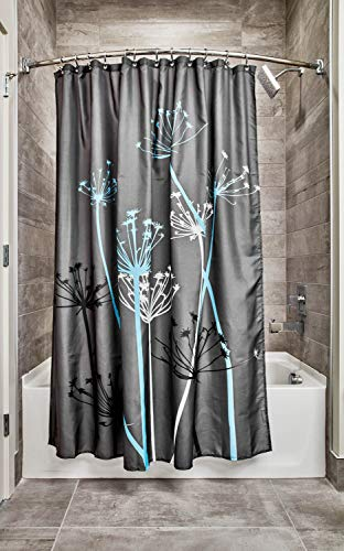 "iDesign Thistle Floral Fabric Bathroom Shower Curtain - 72"" x 72"", Gray/Blue"
