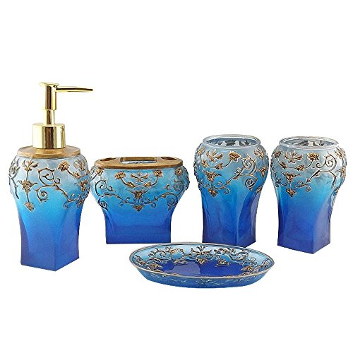 Country Style Resin 5PC Bathroom Accessories Set Soap Dispenser/Toothbrush Holder/Tumbler/Soap Dish (Blue)