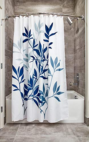 "iDesign Leaves Botanical Fabric Bathroom Shower Curtain - 72"" x 72"", White/Blue"